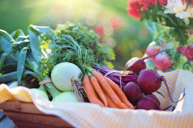 En kurv fyldt med sunde grøntsager